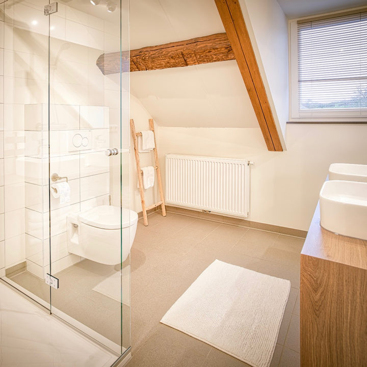 Moderne badkamer met authentieke balken