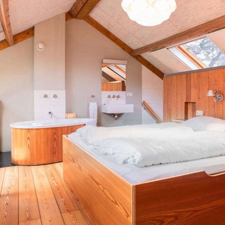 Luxe lodgekamer met tweepersoons bed met een bad ernaast