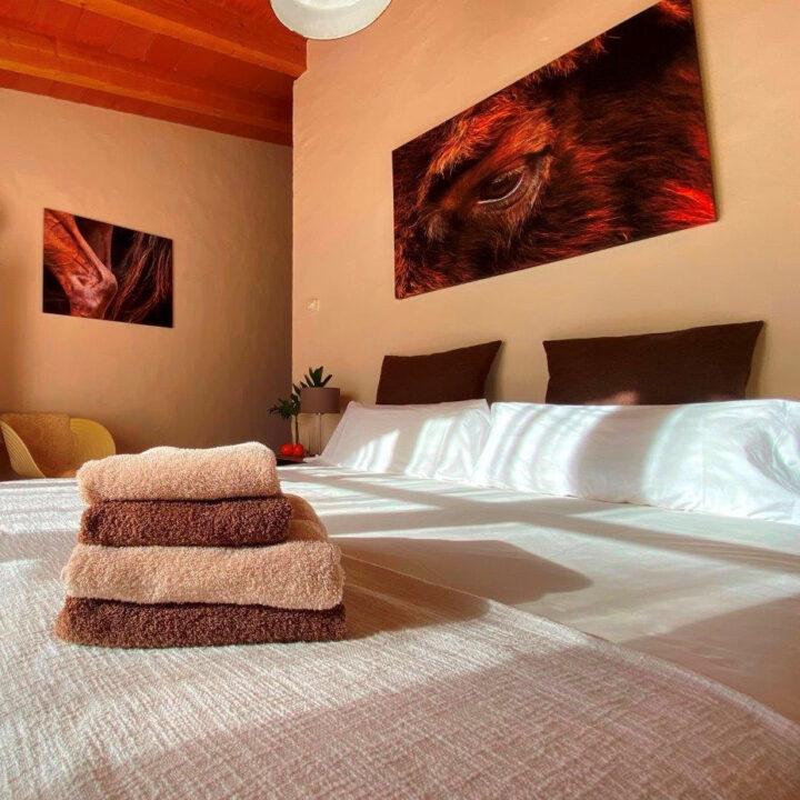 Slaapkamer met stapeltje handdoeken