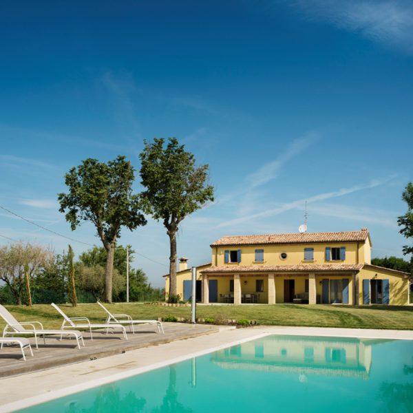 Zwembad met ligstoelen en op de achtergrond een vakantiehuis