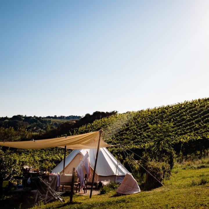 Bell tent voor glamping vakantie in de Marken