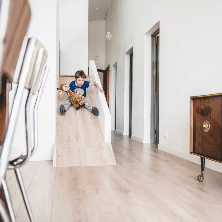 Glijbaan in de woonkamer