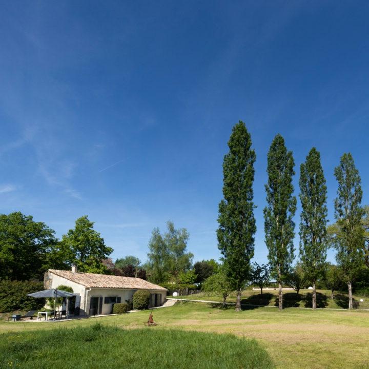 Een vakantiehuis met een groot grasveld ervoor en een rijtje populieren.