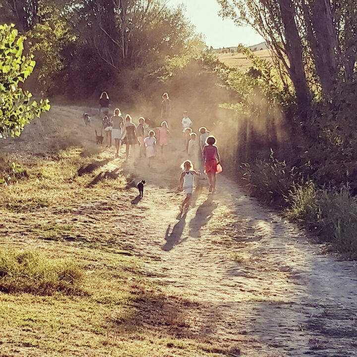 Aan de wandel met alle kinderen tijdens de vakantie in Frankrijk
