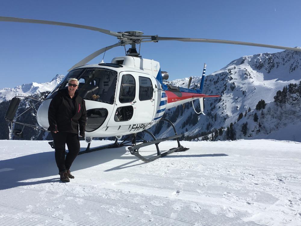 Helikoptervlucht boven het skigebied in de Savoie Mont Blanc