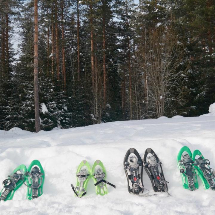 Sneeuwschoenen in groen en zwart, op een rijtje in de sneeuw