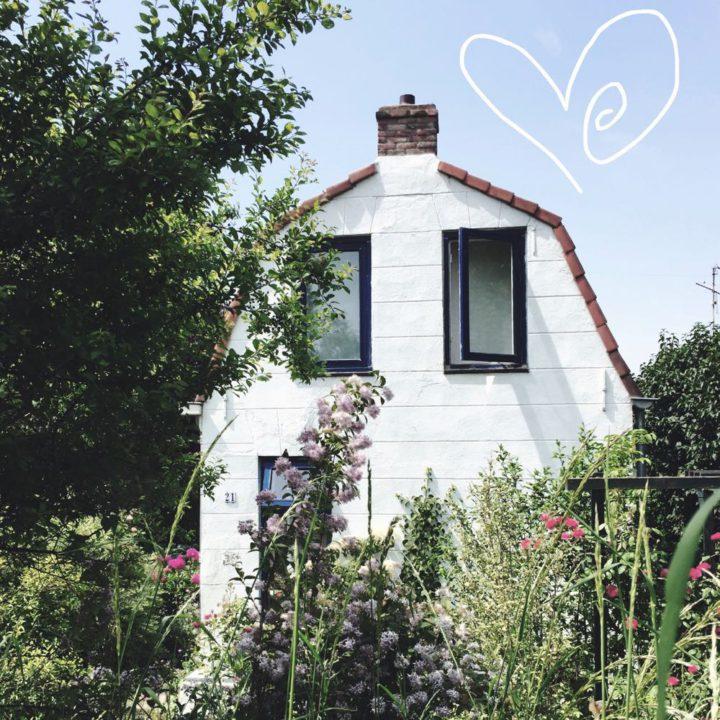 Voorzijde van een wit vakantiehuisje tussen de bloeiende planten