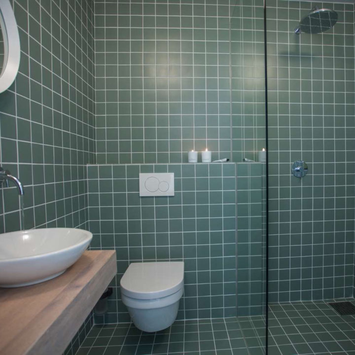 Badkamer met toilet en wastafel en wanden vol groene tegeltjes