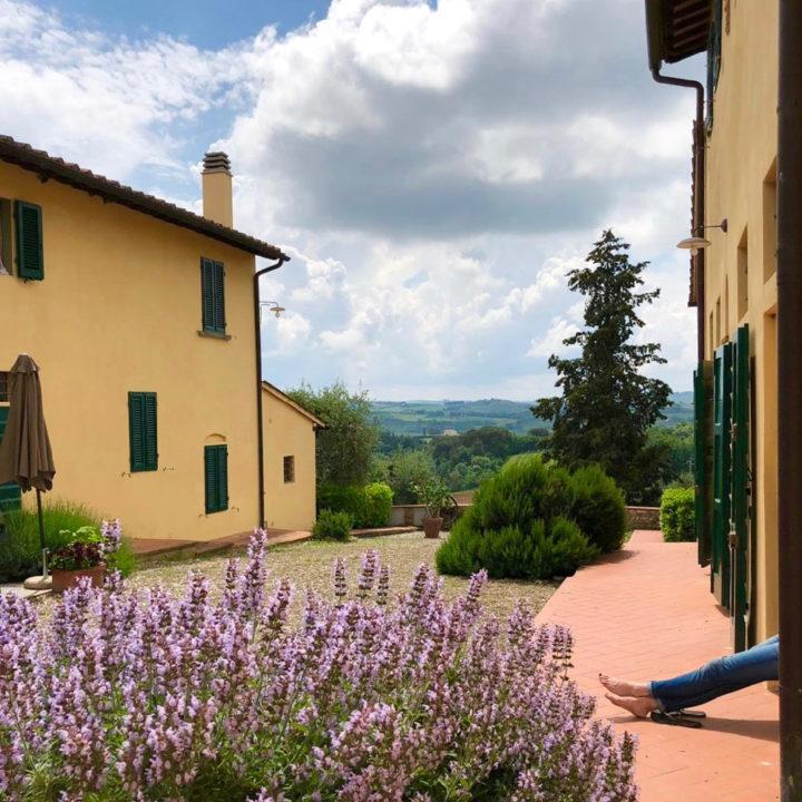 Vakantiehuizen met gele muren en paarse bloemetjes op de voorgrond