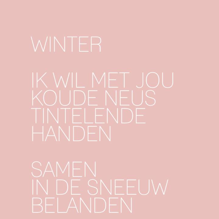 Winter, ik wil met jou koude neus tintelende handen, samen in de sneeuw belanden