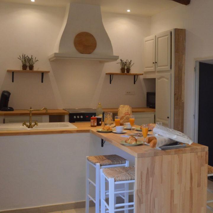 Keuken waar het ontbijt klaar staat
