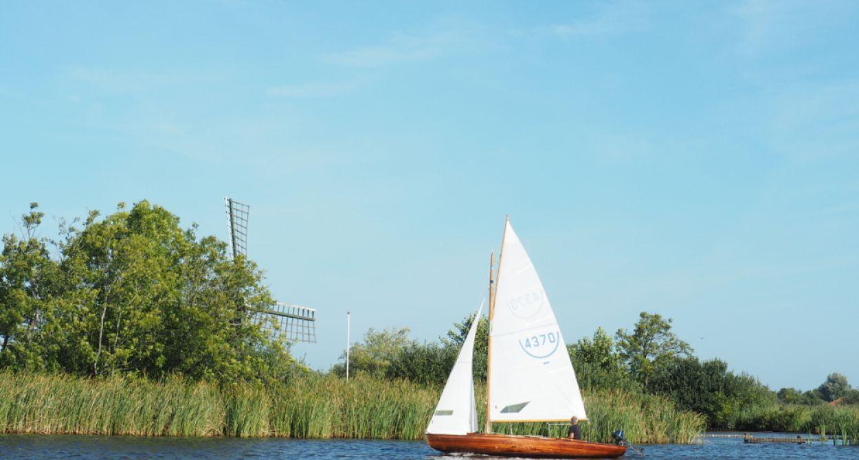 Zeilboot op het water met op de achtergrond riet en een molen tegen een blauwe lucht