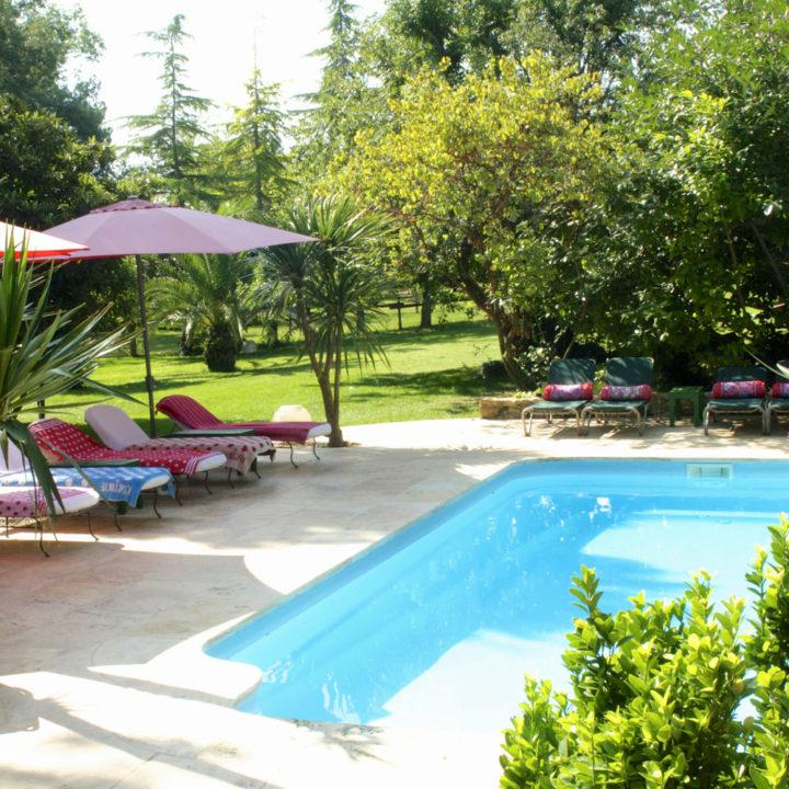 Het fijne zwembad in de tuin van dit vakantieadres in Spanje