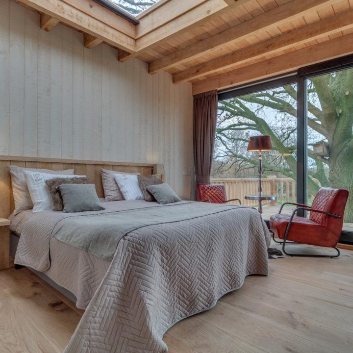 Boomhut met glazen koepel boven het bed