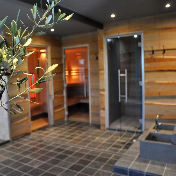 Sauna met olijfboom op de voorgrond en een voetenbad