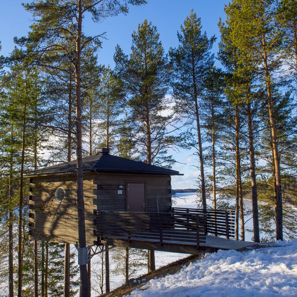 De boomhutten liggen in een mooie omgeving, middenin de natuur.