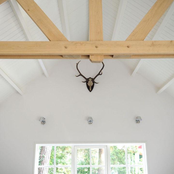 Gewei aan de wand met het hoge plafond.