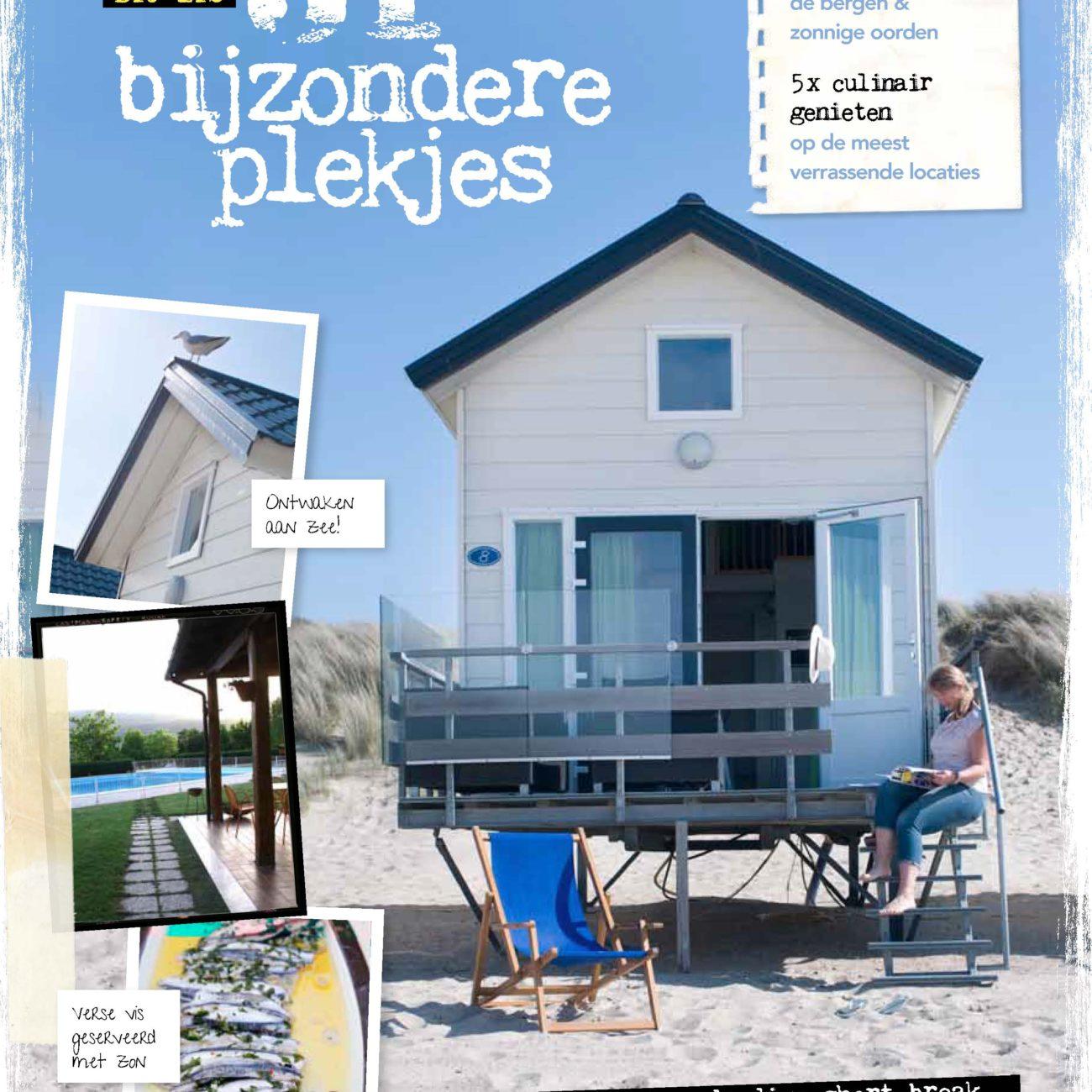 pagina uit magazine met item over bijzondere plekjes op foto strandhuisje