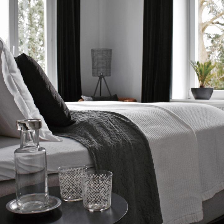 Opgemaakt bed met uitzicht op een bos in Villa Voorenburg