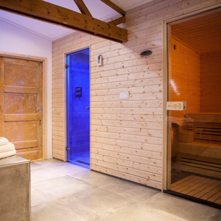 Een Finse sauna en regendouche met lichttherapie.