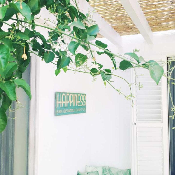 Overdekt terras bij vakantiehuis op Ibiza