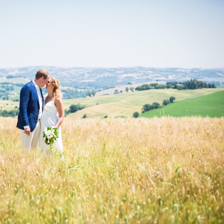 Een droomplek, bruidspaar in een korenveld