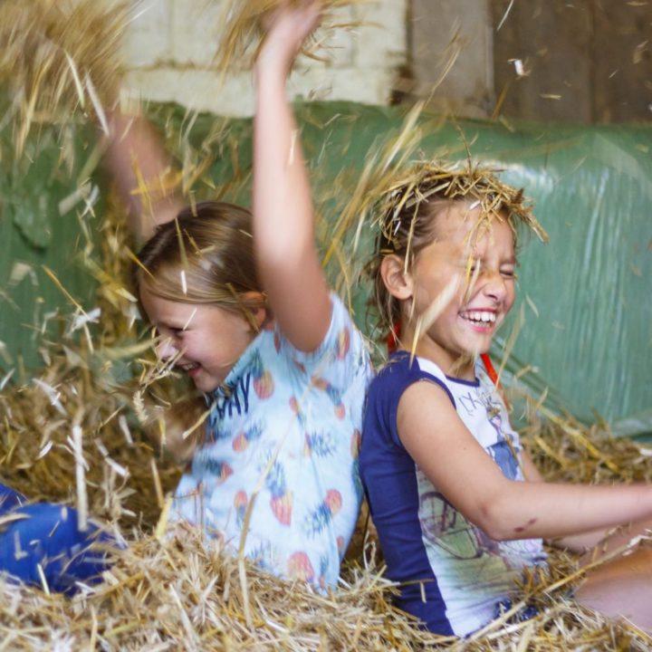 Spelen in het hooi tijdens een vakantie op de boerderij