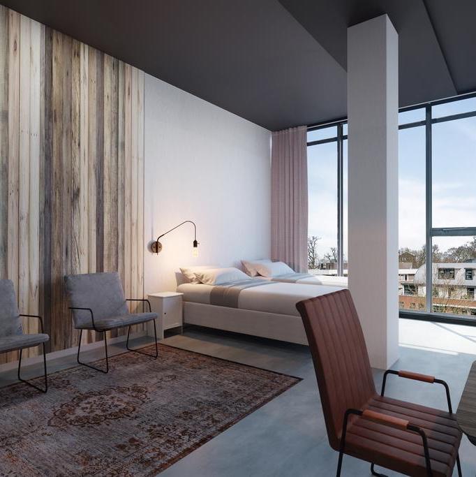 Hotelkamer met industrieel karakter