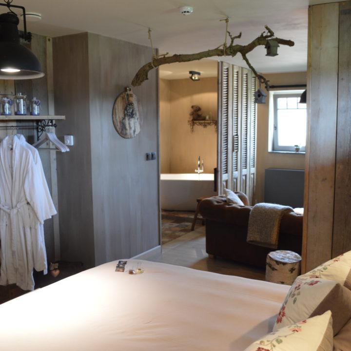 Zicht op de badkamer vanuit de hotelkamer