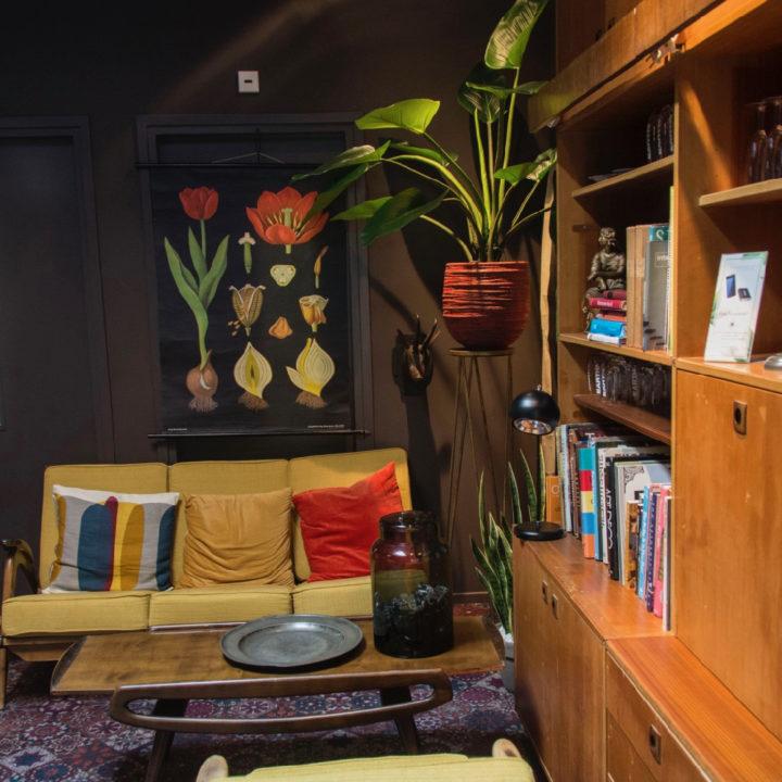 Koffie hoek met gele banken, kast met boeken en pot met plant