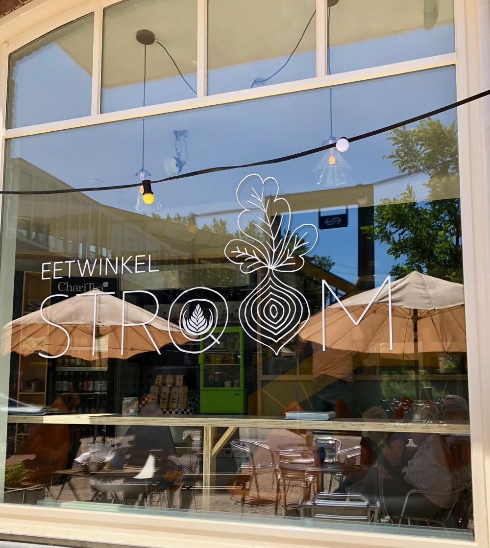 Raam met logo Eetwinkel Stroom