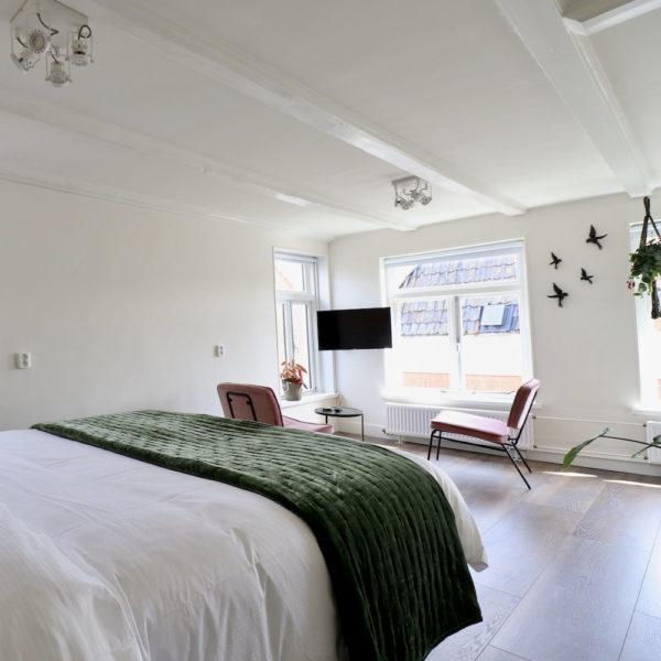 Verdieping met comfortabel bed, plant en zithoek