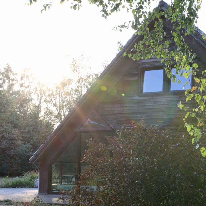 De zijgevel van een groot landhuis, gezien door de bladeren