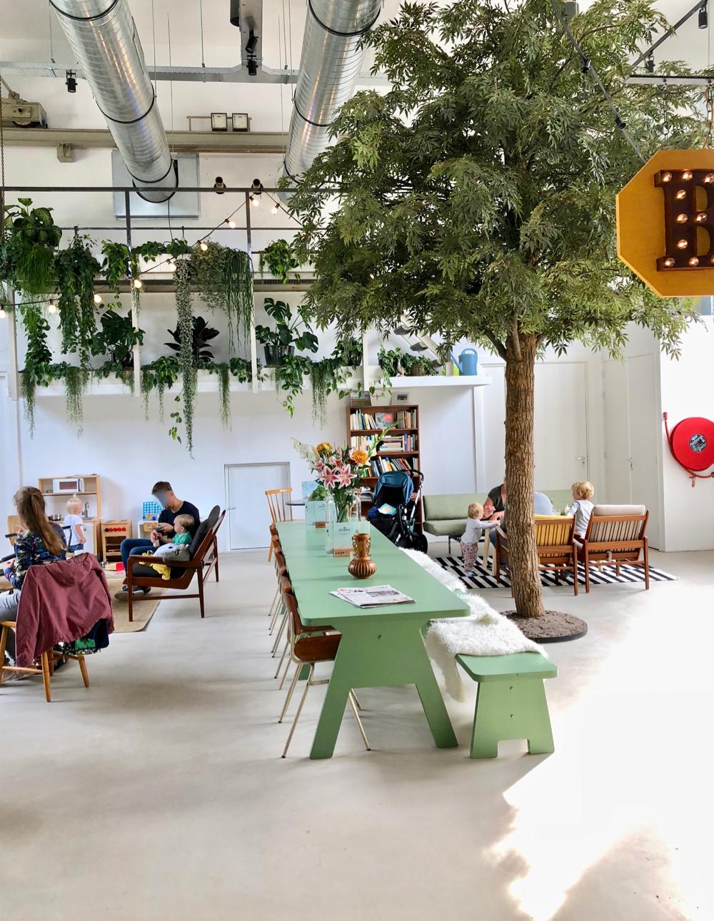 Een hoge ruimte bij Stroom Lent, met lange groene tafel met banken, een boom en veel planten aan de muur