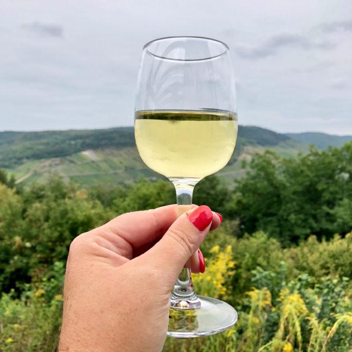 Een glas witte wijn met het moezel dal op de achtergrond