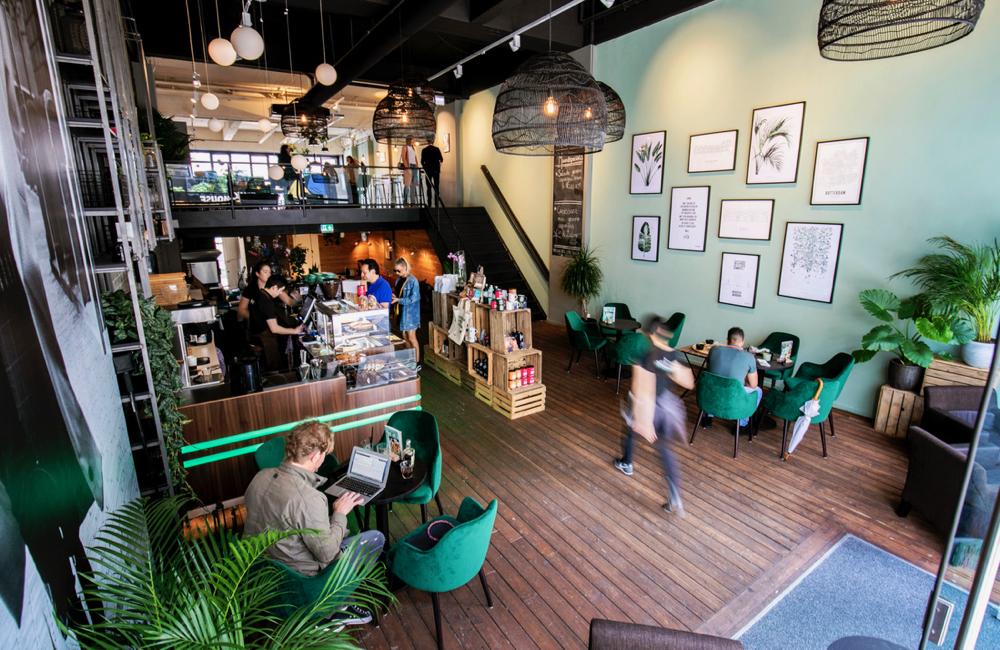 Anne&Max in Rotterdam heeft twee verdiepingen. Een groene muur vol schilderijen, fluwelen fauteuils, planten.