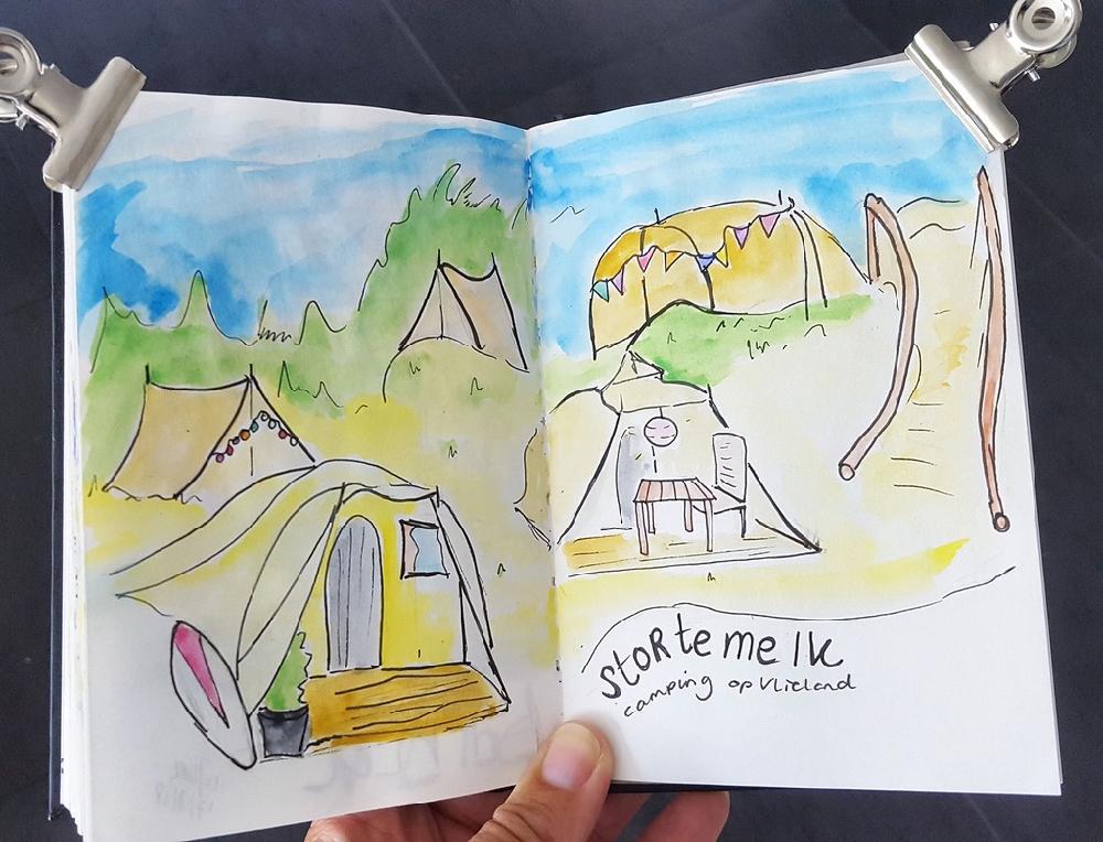 Illustratie camping Stortemelk