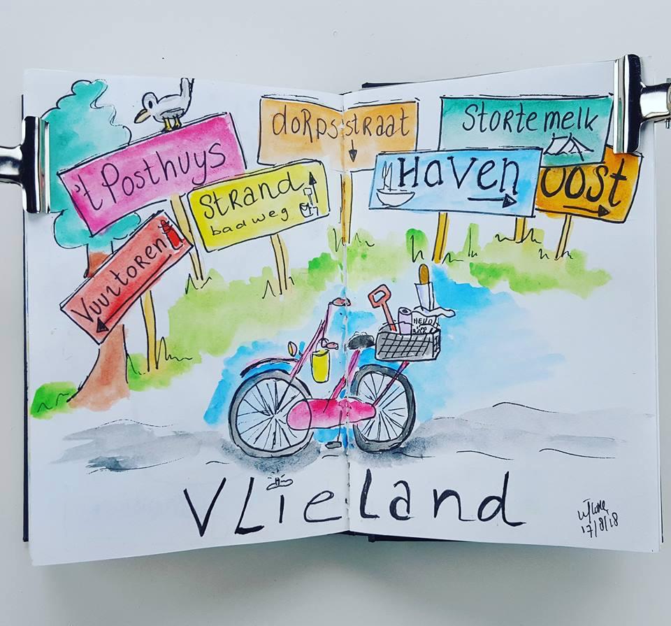 Illustratie fietsen op Vlieland