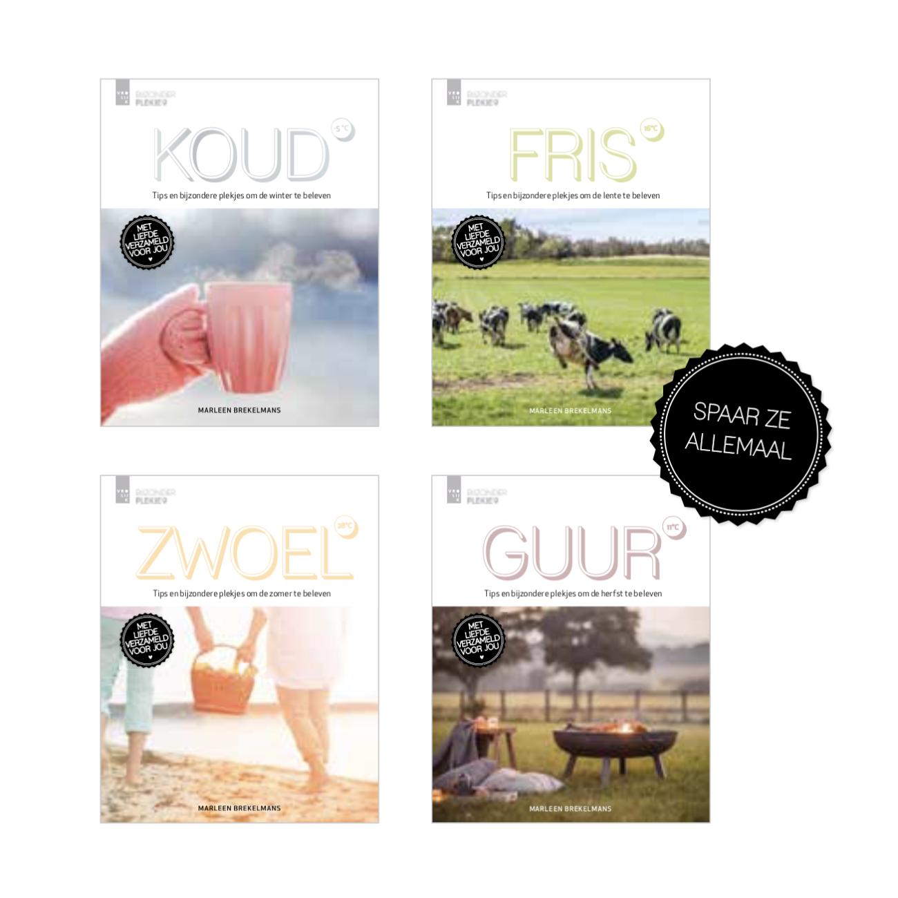 4 covers van Koud, Fris, Guur en Zwoel