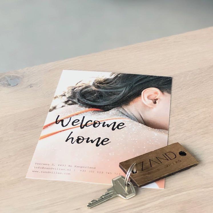 Een warm welkom kaartje in de Z'AND villa