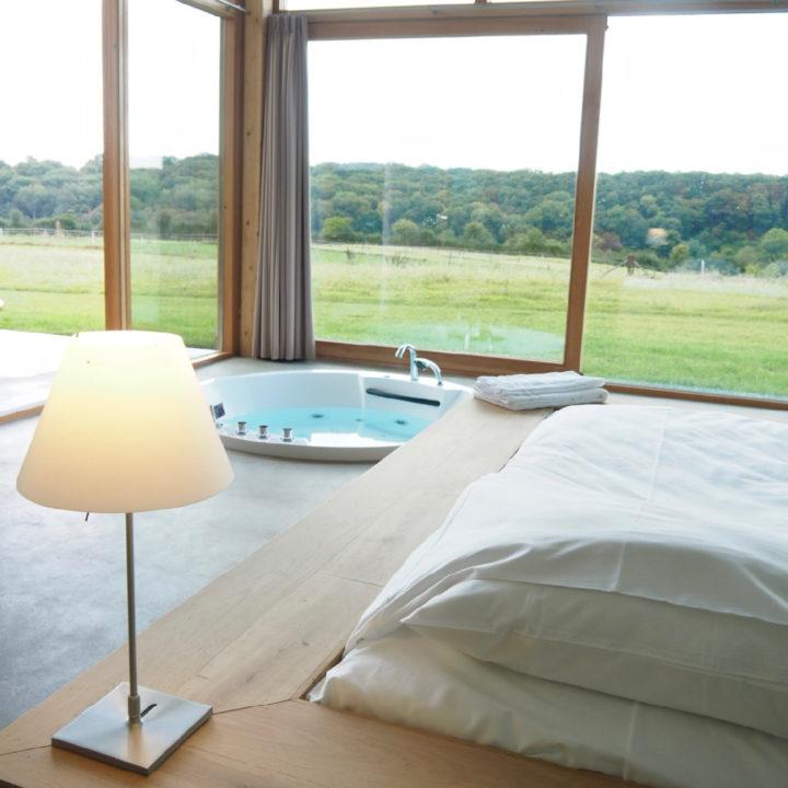Een grote glazen gevel met een bed en bad voor het raam
