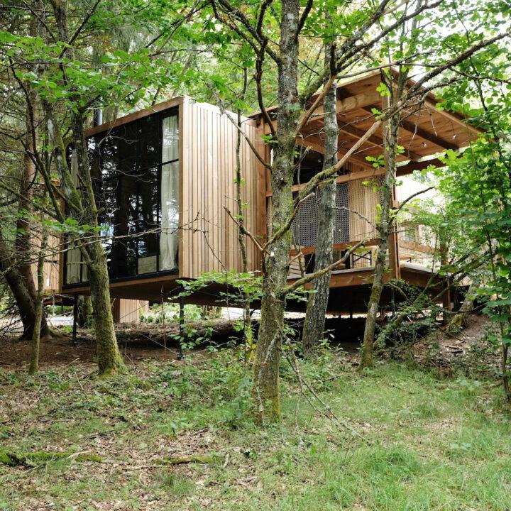 Cabin verstopt in het bos