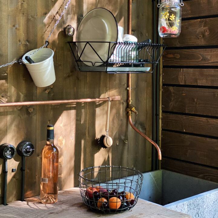 Basic keuken in de cabin in de Ardennen
