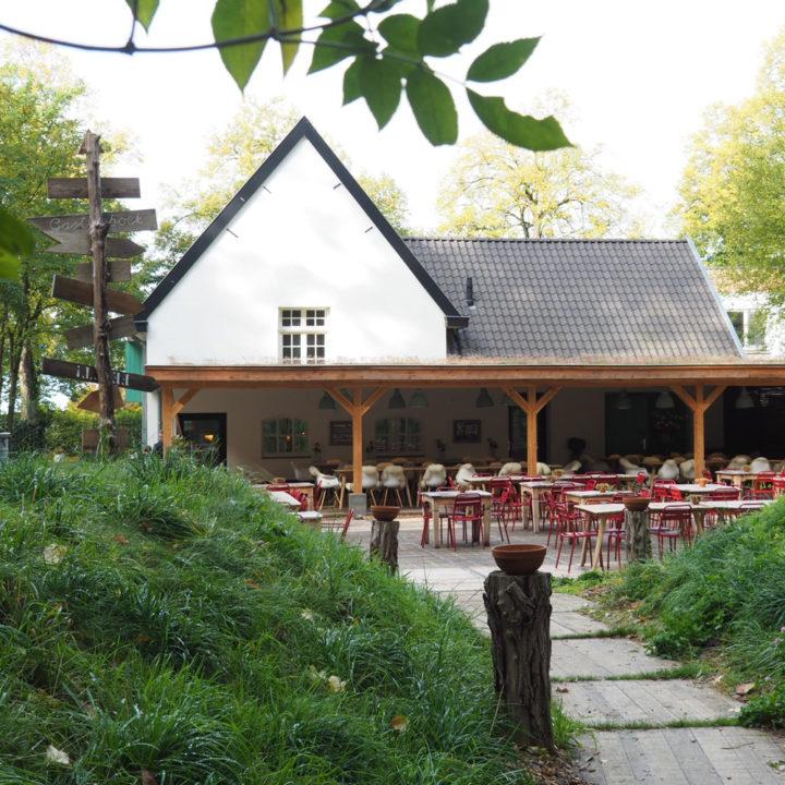 Zijaanzicht van het witte restaurant met veranda en rode stoelen op het terras