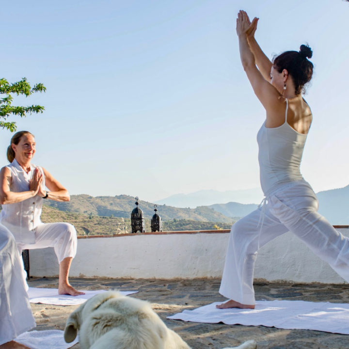 Yoga bij Cortijo Juan Salvador, twee dames in een yoga pose