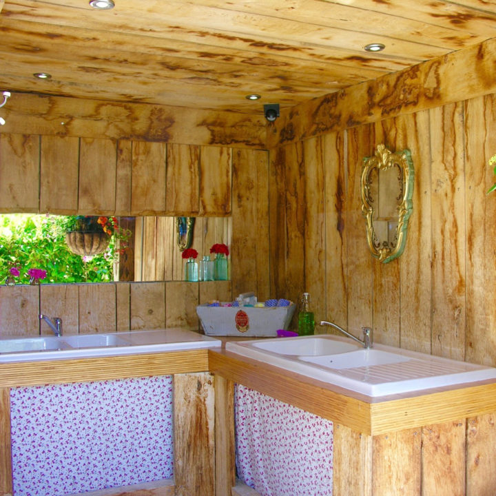 Glamping met privé badkamer