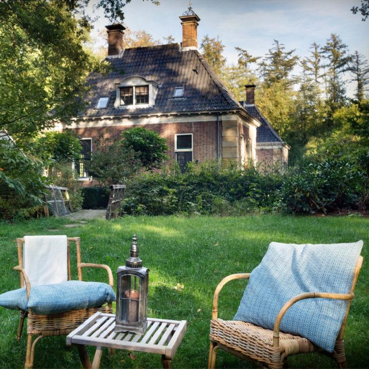 Twee rotan stoeltjes met blauwe kussentjes in het gras