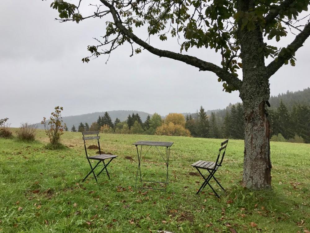 Bistro stoeltjes en tafeltje in het gras met op de achtergrond het heuvellandschap van het Boheemse woud