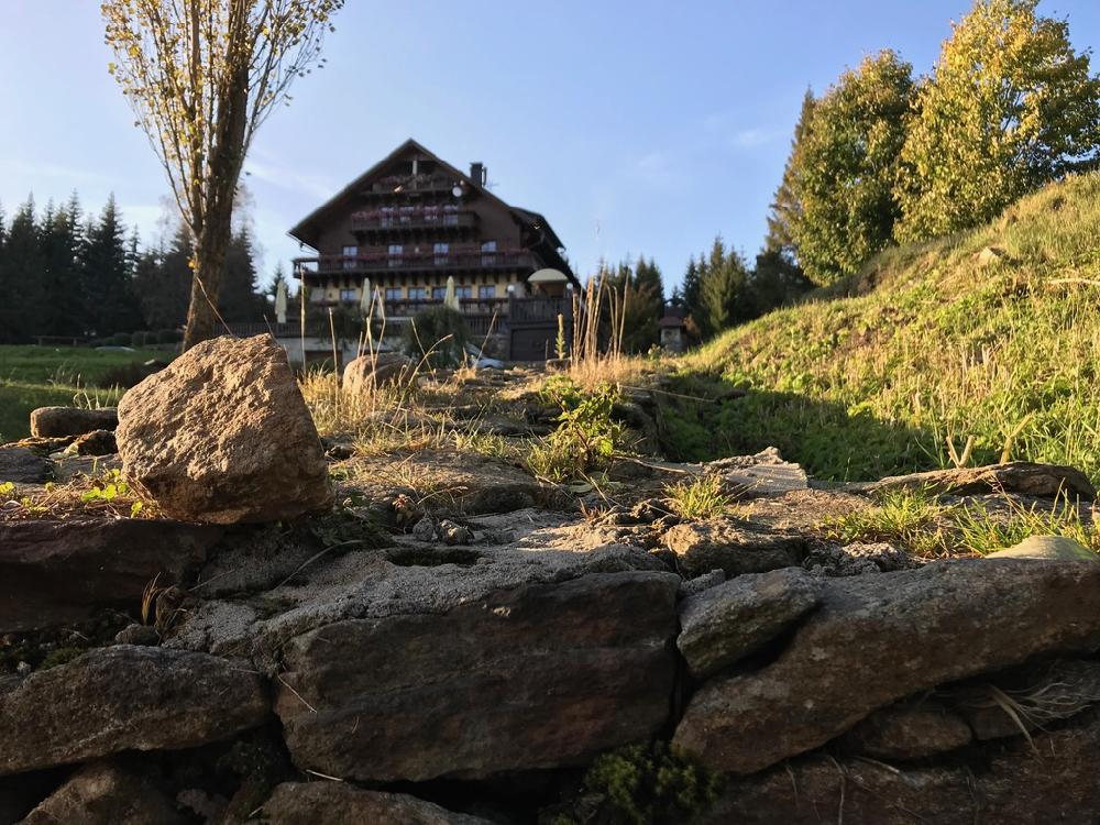 Houten hotel in een heuvellandschap met herfstkleuren