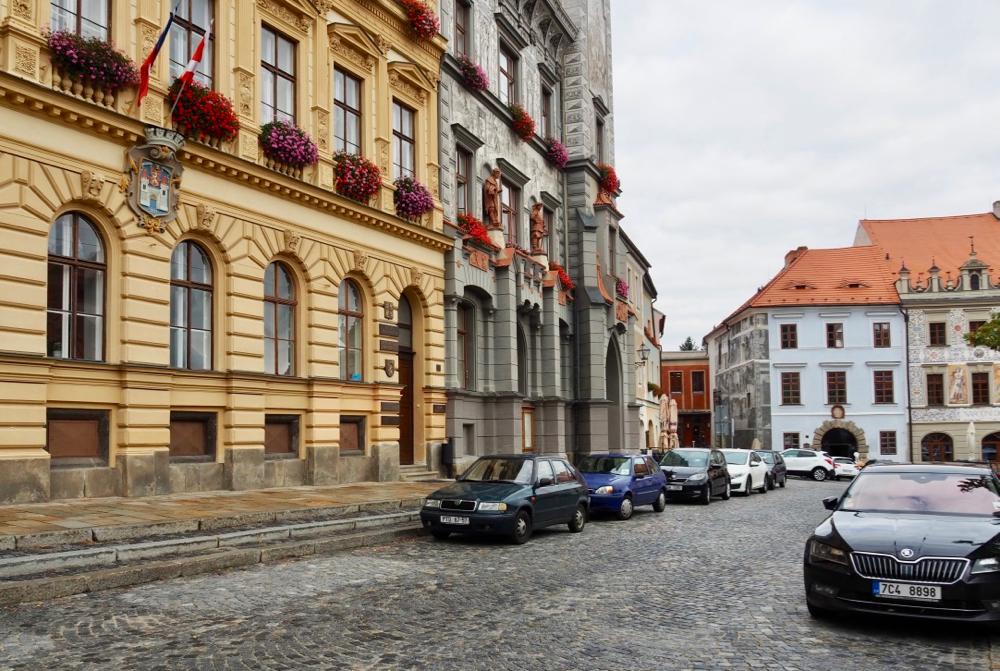 Straatbeeld in de Tsjechische stad Prachatice